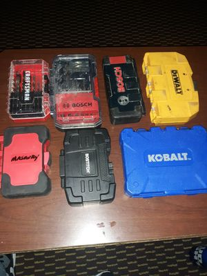 DEWALT,KOBALT,BOSCH,CRAFTSMAN drill bits and bit sets for Sale in Savannah, GA