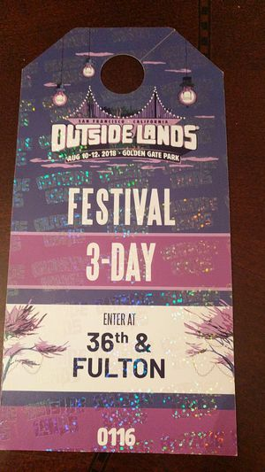Outsidelands festival 3 day parking pass for Sale in San Francisco, CA