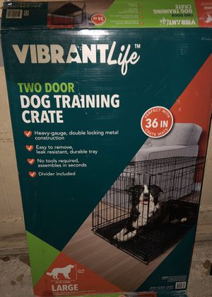 Large 2 Door Dog Crate with Divider & Removable Pan for Sale in Phoenix, AZ