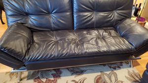 Faux dark brown leather futon for Sale in Snohomish, WA