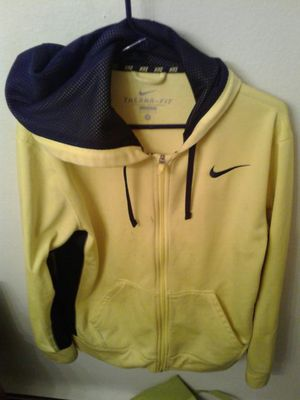 Medium Nike yellow Thermr-Fit zip up sweat jacket with hoodie for Sale in Denver, CO