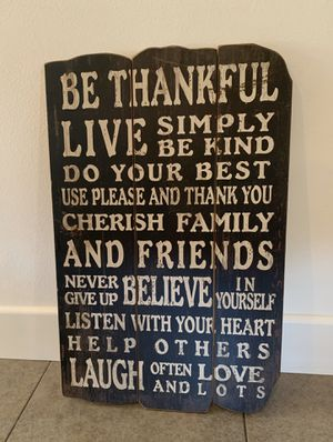 Be Thankful Decorative Sign-Home Decor for Sale in Fullerton, CA