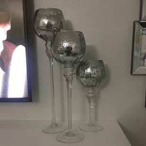 Set Of 3 Charisma Metallic Silver Candle Holders for Sale in Hollywood, FL