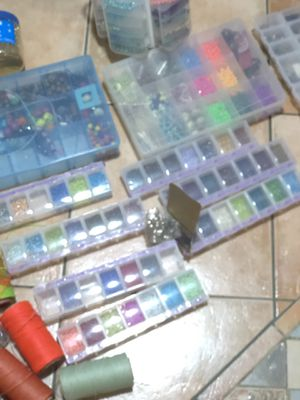 Art and craft supplies. Beads macramé threads for Sale in Chicago, IL