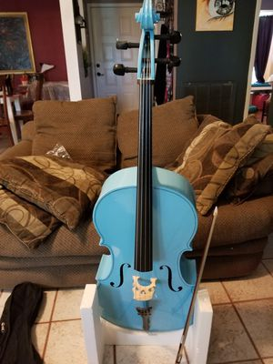 Blue cello, extra replacement bridge, strings and wax and portable soft case for Sale in San Antonio, TX