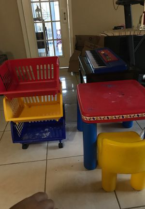 Kids table chair and Toy Organizer for Sale in Houston, TX