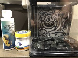 🐟 Little fish tank for beta 🐠 fish, beta water conditioner and beta food for Sale in Woodinville, WA