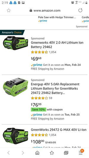 Greenworks 40v batteries/ charger available too for Sale in Kirklyn, PA