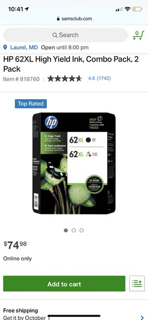 62XL combo pack, 2 pack HP printer ink for Sale in Adelphi, MD