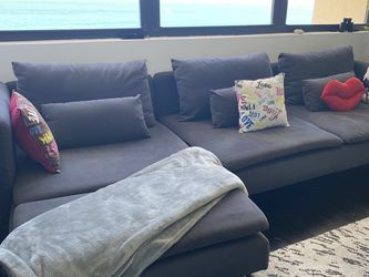 Dark grey Fabric Left Chaise Sectional- Available On April for Sale in Miami,  FL