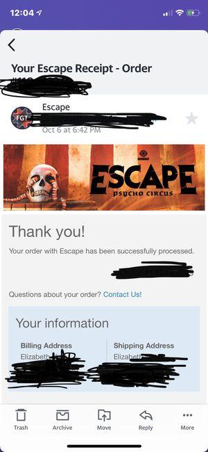 Escape (1) two day GA ticket for Sale in Corona, CA