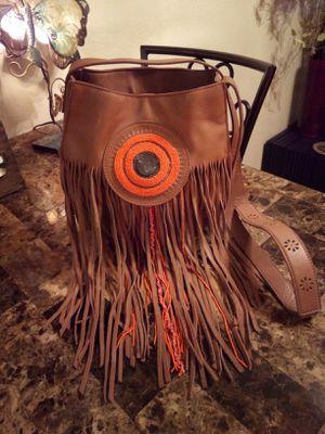 Anthropology brown soft textured genuine leather beaded Long Fringe boho medium Crossbody hobo shoulder bag purse for Sale in Phoenix, AZ