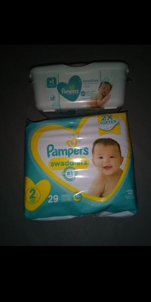 Size 2 Pampers and wipes for Sale in San Bernardino, CA