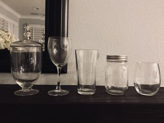 12 pc Apothecary candy mason jars pub stemless wine glasses for Sale in Irvine,  CA