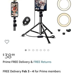 """10"""" Ring Light with Tripod Stand & Phone Holder JACKYLED Selfie Ring Light for Live Stream Dimmable LED Ring Light with iPad Holde for Sale in Sylmar, CA"""