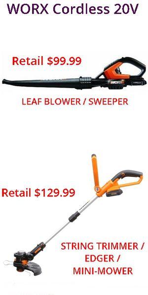 WORX 2pc 20V String Trimmer / Edger / Mini-Mower + Leaf Blower Combo for Sale in Greenbelt, MD