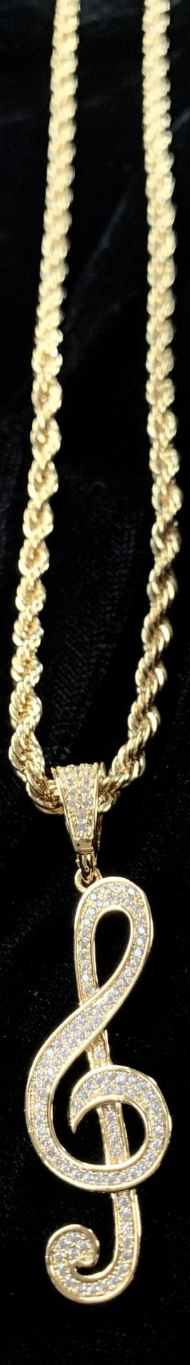 MUSIC NOTE FULL DIAMONDS CZ 18K GOLD CHAIN for Sale in Miami Beach, FL