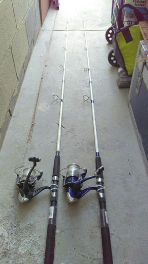2 Tiger paw fishing rod and box of accessories for Sale in Long Beach, CA