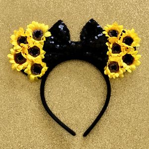 Minnie Mouse Sunflowers 🌻 & Black Sequin Bow Headband Ears for Sale in Long Beach, CA