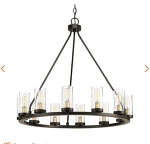 Progress Lighting Hartwell 26.63 in. 12-Light Antique Bronze Chandelier with Clear Seeded Glass and Natural Brass Accents- NEW IN BOX for Sale in San Antonio, TX