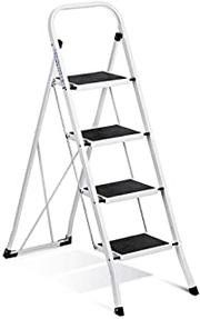 Delxo Folding 4 Step Ladder Ladder with Convenient Handgrip Anti-Slip Sturdy and Wide Pedal 330lbs Portable Steel Step Stool for Sale in Ontario, CA