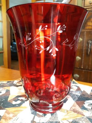 Brand New Longaberger Etched Red Glass Hurricane for Sale in Salem, IN