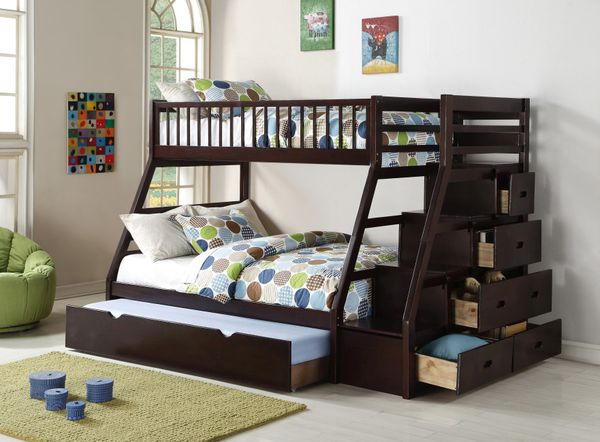 Brand New Twin/Full Bunk Bed With Trundle And Storage