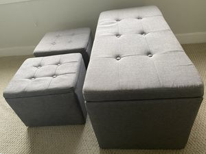 Linen Upholstered Bench & Ottomans in Black (Set of 3) for Sale in College Park, MD