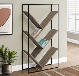 Monarch Specialties Bookcase Dark Taupe Finish and Black Metal - 60-in H for Sale in Houston, TX