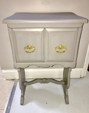 Antique gray solid wood radio cabinet end table nightstand for Sale in Kensington, MD