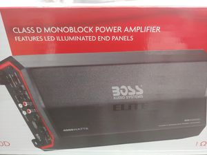 Car amplifier : BOSS elite 4000 watts monoblock 1 ohm stable built in crossover 40a×3 fusea & bass control ( brand new price is lowest no install ) for Sale in Bell Gardens, CA