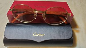 New Cartier gold and natural wood eyeglasses frames sunglasses for Sale in Bloomfield, CT