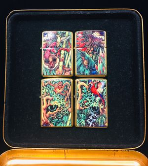 0000000Zippo 1995 Limited Edition Mysteries of the Forest 4 lighter set mint In Tin. Never used for Sale in Miami, FL