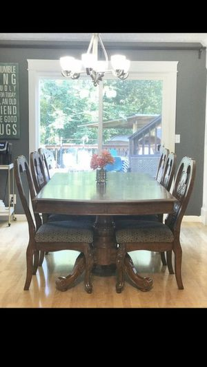 Wood wooden kitchen dinner dining room table + chairs for Sale in Portland, OR
