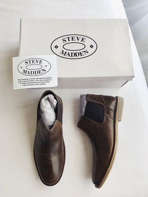 New STEVE MADDEN Impass Men's Leather Chelsea Mid Boots Shoes Size 9M Brown for Sale in Pearland, TX