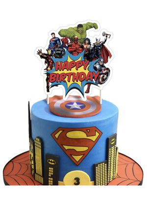 NEW!! Super Hero Cake Topper Birthday Cake Cupcake Decorations Party Supplies Toppers for Fans of Super Hero for Sale in Porter Ranch, CA