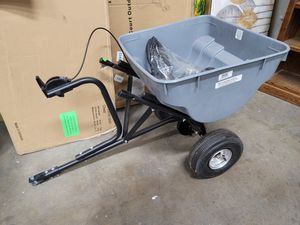 Tow behind broadcast spreader. Hooks up to riding lawn mower. $74 FIRM for Sale in Redlands, CA