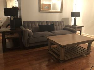 Velvet Gray couch, world market coffee table And 2 end tables in Excellent condition for Sale in Alexandria, VA