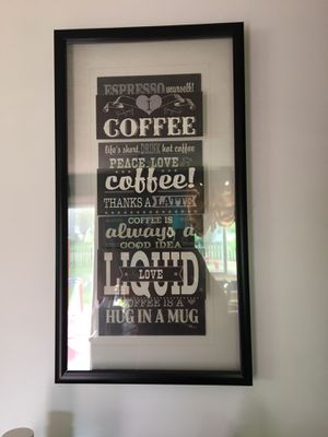 Glass framed coffee art for Sale in Hilliard, OH