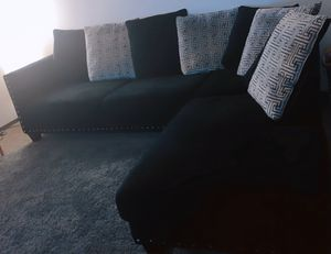 All black couch, suede material. Comes with pillows in photo. 2 piece set. for Sale in Columbus, OH