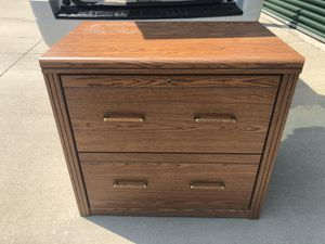 Wooden two drawer file cabinet with veneer top for Sale in Columbia, MO