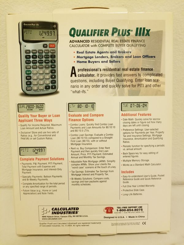 Calculated Industries 3415 Qualifier Plus IIIX Real Estate Finance  Calculator for Sale in Irvine, CA - OfferUp