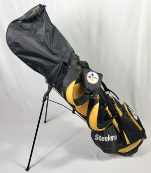 6d9dd8063295 Pittsburgh Steelers Golf Bag Stand Bag Back Strap With Rain Cover Yellow  Black NFL Football  100