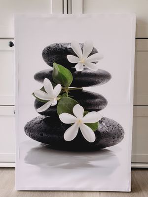 """Canvas wall art- Stone and flower. Modern Home Decor Stretched band Framed Ready to Hang - 24""""x36""""wall decor. Material you can check in Picture 2. for Sale in Industry, CA"""