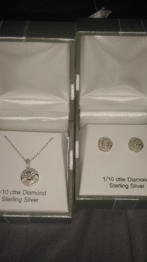 Diamond / silver necklace and matching earrings for Sale in Denver, CO