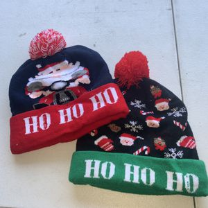 2 Hat Christmas LED Switch Box Knitted Hat Lantern Party Warmth Adult Hat with Ball for Sale in Pomona, CA