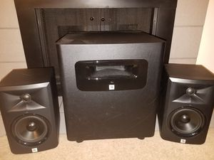 JBL LSR305 (first gen) Studio Monitors, JBL LSR310S subwoofer, cables, speaker stands for Sale in Seattle, WA