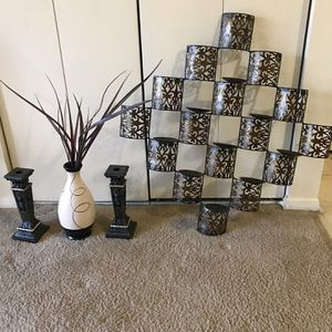 """Available 4 Pc Set 36"""" Metal Wall Candle Holder /2 Candle Sticks 10""""& Vase 12"""" Pick Up Gaithersburg Md20877 for Sale in Gaithersburg, MD"""