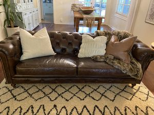 Gorgeous restoration hardware style chesterfield vintage leather sofa for Sale in Yorba Linda, CA