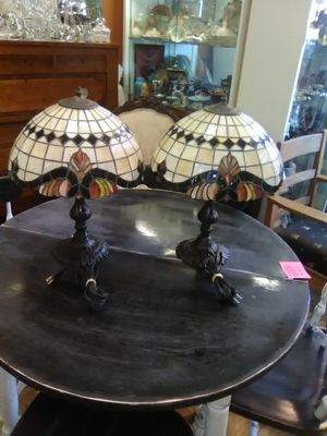 Pair of Tiffany style vintage lamps with stained glass shades $150 / pair for Sale in Spring Valley, CA